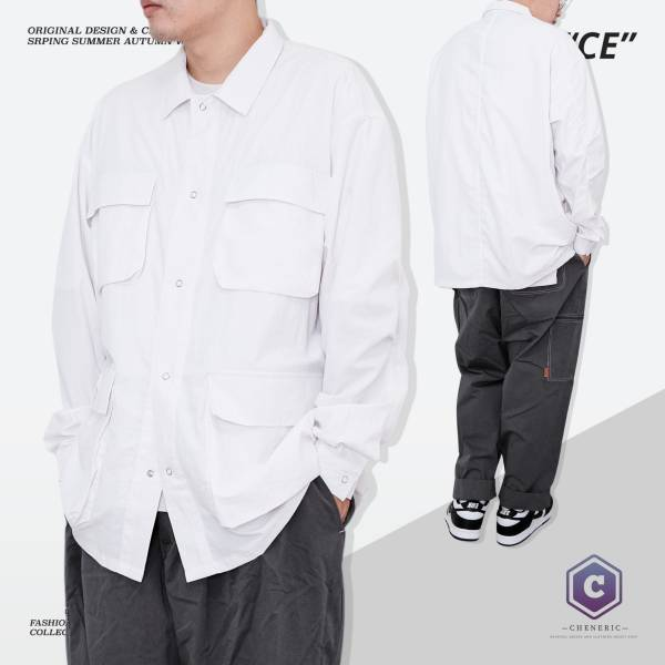 【日系多口袋長袖襯衫】城市男孩工裝寬鬆Cityboy  白 多口袋,日系,襯衫,工裝,城市男孩,oversize