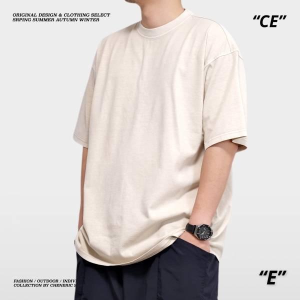【落肩五分袖TEE】250g重磅寬鬆特殊色 沙色 五分袖,落肩,寬鬆,水洗,重磅,cheneric