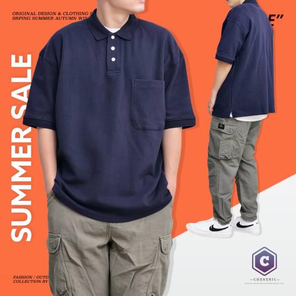 ★OUTLET★【口袋POLO衫】日系寬鬆落肩Cityboy 深藍 POL衫,寬鬆,日系,短袖,cheneric
