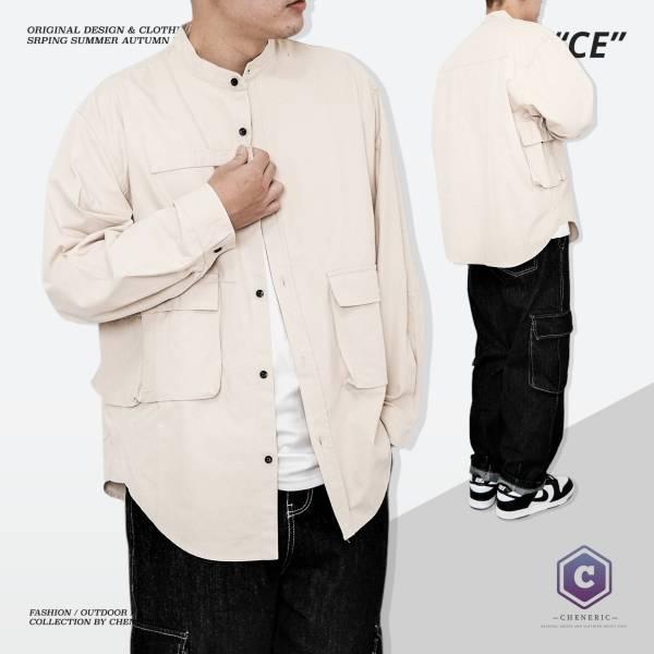 【四口袋工裝襯衫外套】日系圓領寬鬆夾克oversize 淺卡其 日系,圓領,襯衫,外套,夾克,工裝