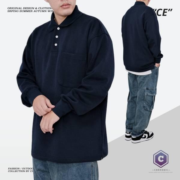 【口袋長袖Polo衫】日系寬鬆素色Cityboy 深藍 素色,polo衫,cityboy,日系,寬鬆,oversize,大口袋