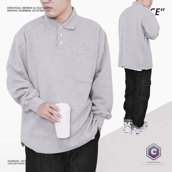 【口袋長袖Polo衫】日系寬鬆素色Cityboy 淺灰 素色,polo衫,cityboy,日系,寬鬆,oversize,大口袋