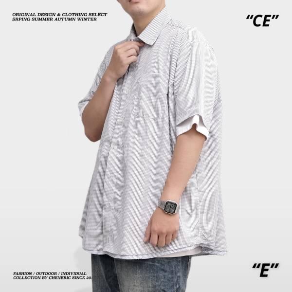 【細格紋短袖襯衫】寬鬆層次假兩件Cityboy 黑白 假兩件,層次,日系,襯衫,寬鬆,cheneric