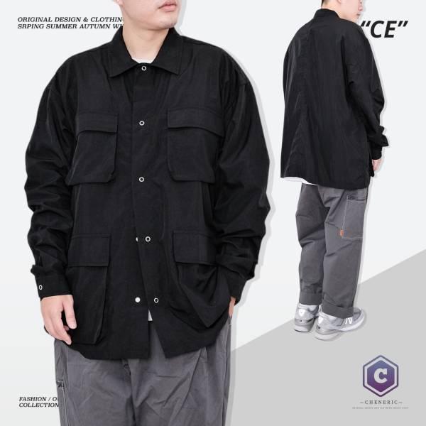【日系多口袋長袖襯衫】城市男孩工裝寬鬆Cityboy 黑 多口袋,日系,襯衫,工裝,城市男孩,oversize