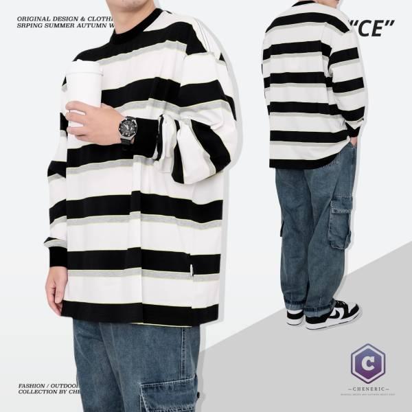 【拼色條紋長TEE】日系寬鬆長袖oversize 白黑灰 日系,條紋,長袖,拼接,拼色,寬鬆,cheneric