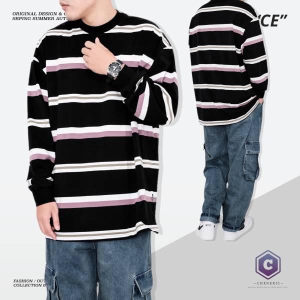 【拼色條紋長TEE】日系寬鬆長袖oversize 黑白紫 日系,條紋,長袖,拼接,拼色,寬鬆,cheneric