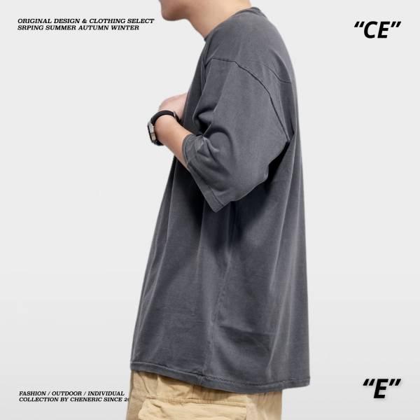 【水洗五分袖TEE】250g重磅寬鬆落肩 水洗深灰 五分袖,落肩,寬鬆,水洗,重磅,cheneric