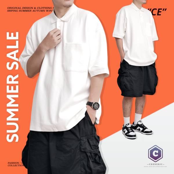 ★OUTLET★【口袋POLO衫】日系寬鬆落肩Cityboy 白 POL衫,寬鬆,日系,短袖,cheneric