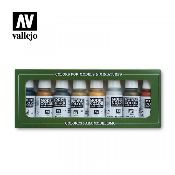 西班牙 Acrylicos Vallejo AV水漆 模型色彩 Model Color 金屬色套組(8色) Metallic Colors (8) AV水漆,Acrylicos Vallejo,保護漆