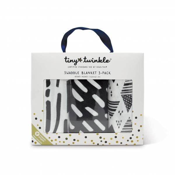 Tiny Twinkle紗布巾(3入)|簡約黑白 tiny twinkle,紗布巾,包巾,嬰兒包巾,嬰兒被毯,推車罩