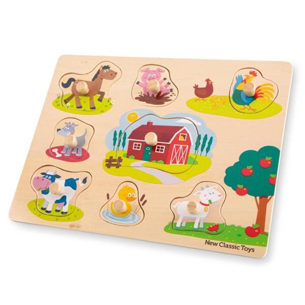 NewClassicToys寶寶木製拼圖-農場樂園