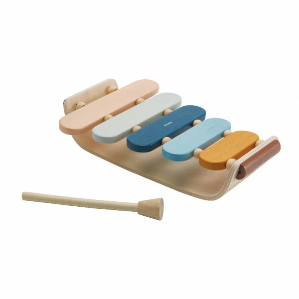 Plan Toys彩虹橢圓木琴 清新藍