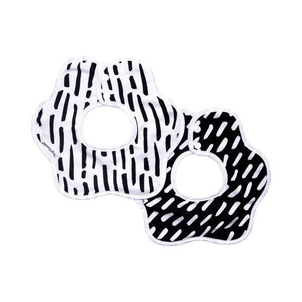 Tiny Twinkle 花型圍兜 (2入) 簡約黑白 tiny twinkle,咬咬兜,圍兜,口水巾Tiny Twinkle圍兜,花型圍兜,防水圍兜,marlmarl,360度圍兜
