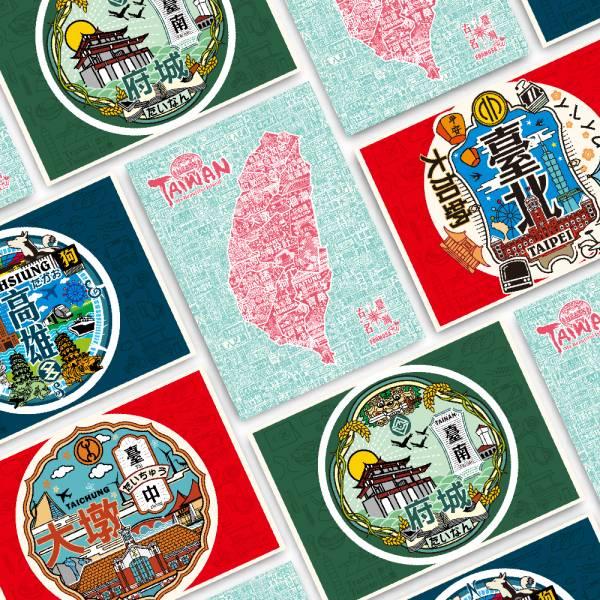 台灣地方明信片 共六款 文創商品,台灣文化,懷舊商品,復古風,紀念商品,台灣味,台灣文創,明信片,木子創意。