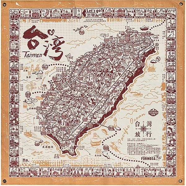 環島旅行布地圖-紅 文創商品,台灣文化,懷舊商品,復古風,紀念商品,台灣味,台灣文創,旅行,地圖,復古布掛,木子創意。