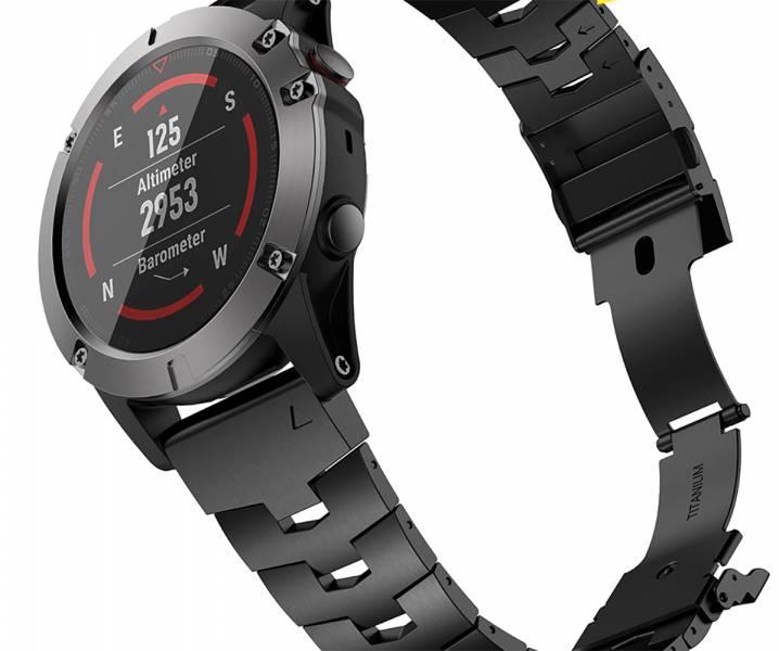 <預購> GARMIN QuickFit 26mm 專用 - 鈦金屬錶帶 + 鈦金屬錶扣活頁 - 黑色 DLC 特別版本 鈦錶帶;26mm錶帶;通用型錶帶