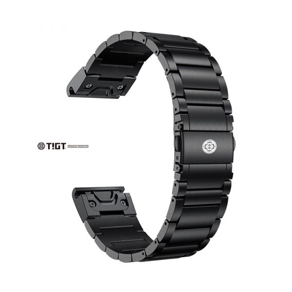 <預購> GARMIN QuickFit 22mm or 26mm 專用 - 鈦金屬錶帶 + 鈦金屬錶扣活頁 - 黑色 PVD 版本 鈦錶帶;22mm錶帶;通用型錶帶