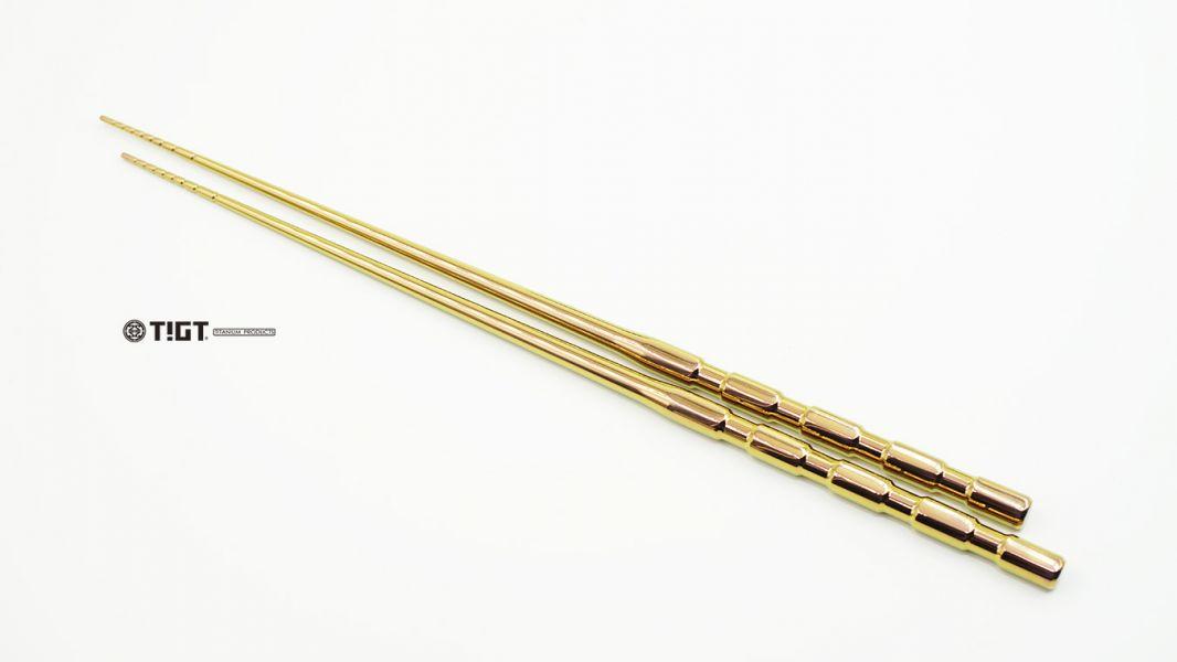 TIGT-鈦箸之峯- 匠人手工拋光-玫瑰金版本- 255mm長度版本-精裝木盒限量版-一雙裝 TIGT 鈦箸之峯 美國鍛造醫療鈦 限量桐木盒 255mm長度 實心一體成型