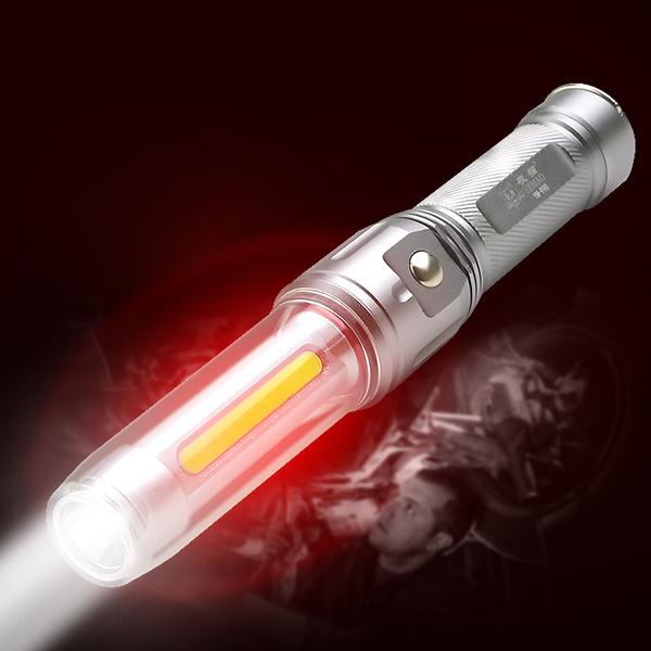 多功能強光手電筒-充電雙電版 多功能,強光手電筒,手電筒,LED,照明,檯燈,緊急照明,警示燈,警示功能,汽車維修,居家生活