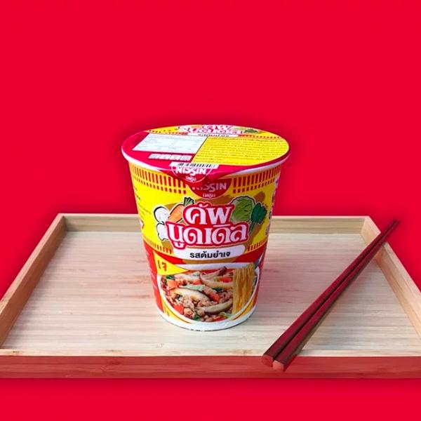 Nissin日清酸辣蔬菜味速食杯麵-全素