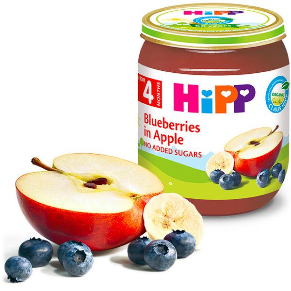 HiPP喜寶有機蘋果小藍莓泥125g-全素