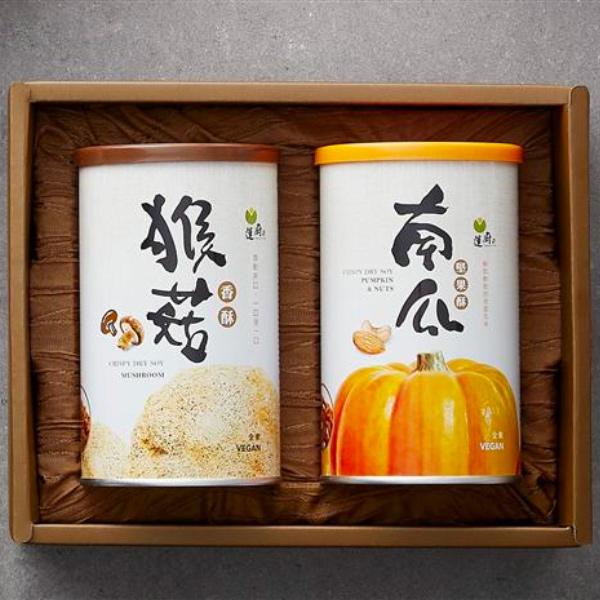 蓮廚春菊暖陽禮盒(南瓜+猴菇)香鬆2入-全素