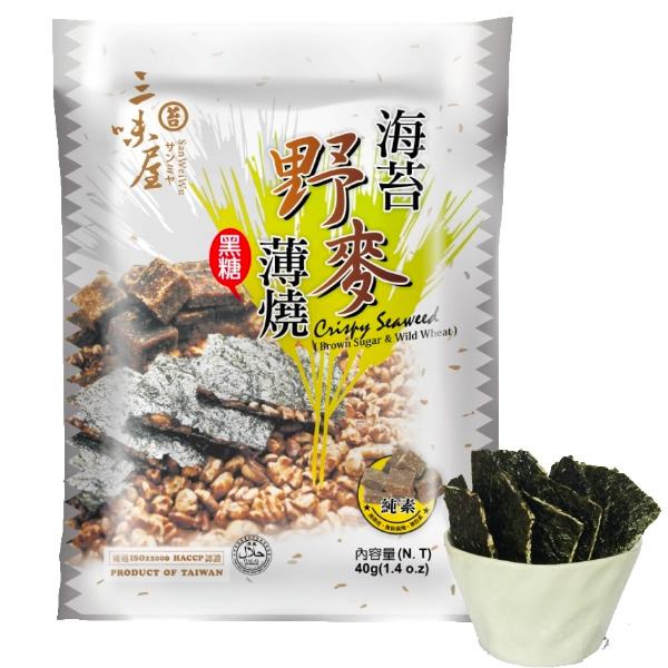 三味屋海苔野麥薄燒40g(黑糖口味)-全素