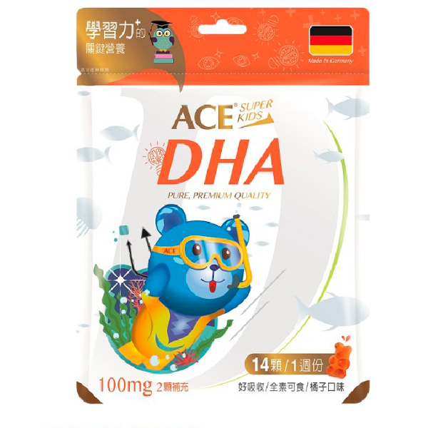 ACE SUPER KIDS DHA營養Q軟糖(橘子口味)-全素
