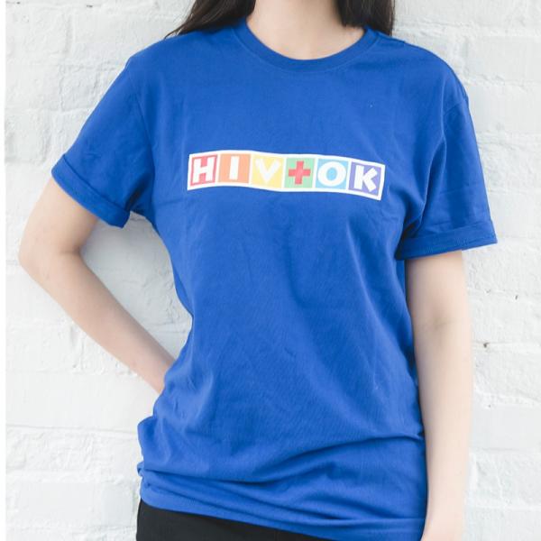 抵抗歧視_HIV+OK寶藍圓領T HIV+OK,衣服,愛滋
