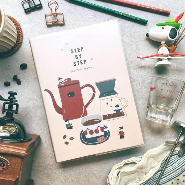 Step by Step 一年計劃v.3 [咖啡] Dimanche,迪夢奇,週計畫,八分割,手帳,方眼格