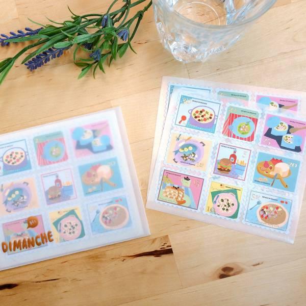 On The Table郵票貼紙 [繽紛] Dimanche,迪夢奇,郵票,貼紙,美食