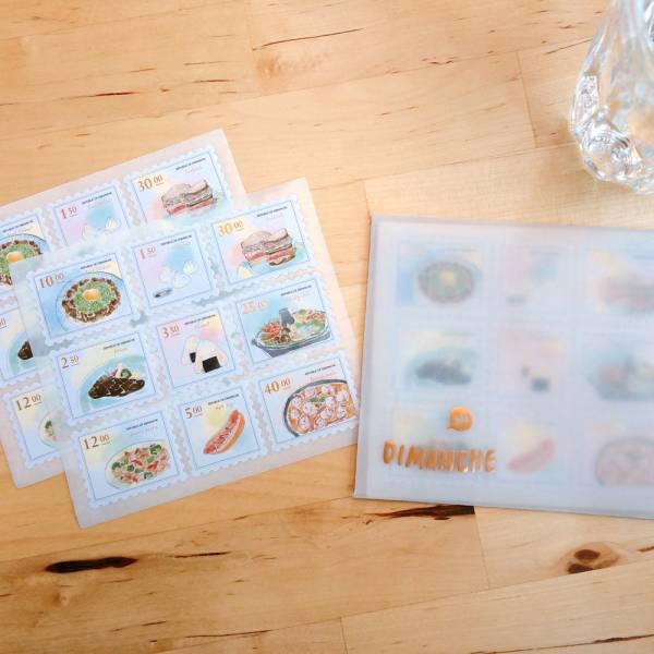 On The Table郵票貼紙 [淡彩] Dimanche,迪夢奇,郵票,貼紙,美食