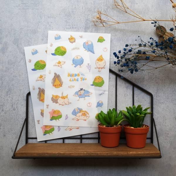 Dimanche感壓貼 [BIRDS Like You] Dimanche,迪夢奇,感壓,手帳,貼紙,DIY