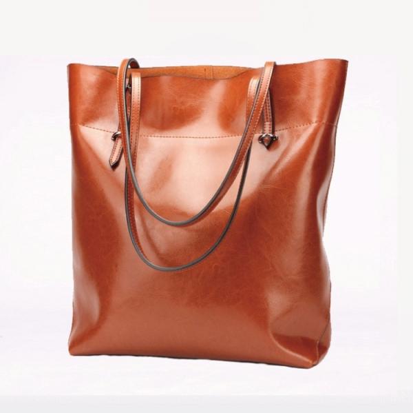真皮肩背子母包 牛皮手提購物袋 簡單實用女士子母大包#MK002