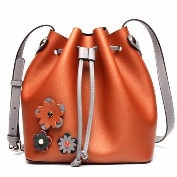 真皮女包大包撞色水桶包休閒時尚牛皮購物袋肩背包 #MK044