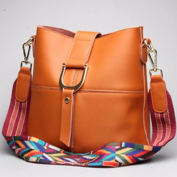 真皮女包大包水桶包休閒時尚牛皮購物袋肩背包 #MK056