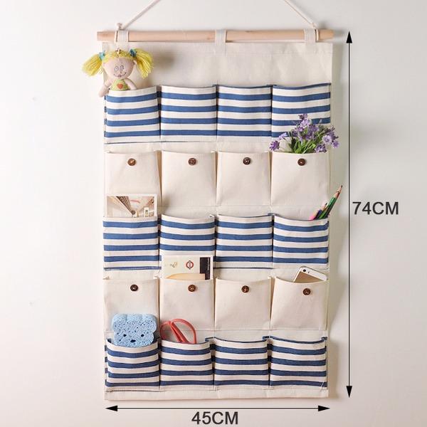 【出清】 20口棉麻收納掛袋 布藝儲物整理袋