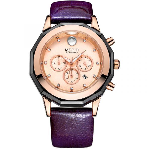 璀璨奢華 真三眼女錶 MG2042 腕錶,手錶,女錶,三眼錶,皮帶,鑽石