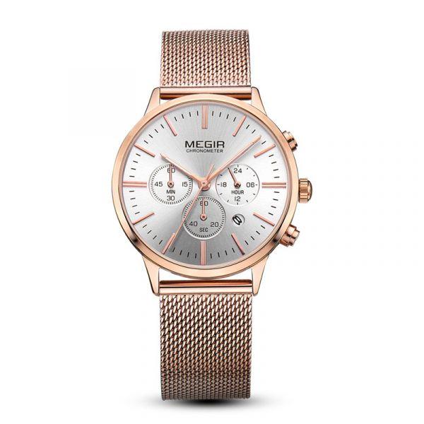 米蘭經典 真三眼女錶 MG2011 腕錶,手錶,女錶,三眼錶,鋼網帶,米蘭帶