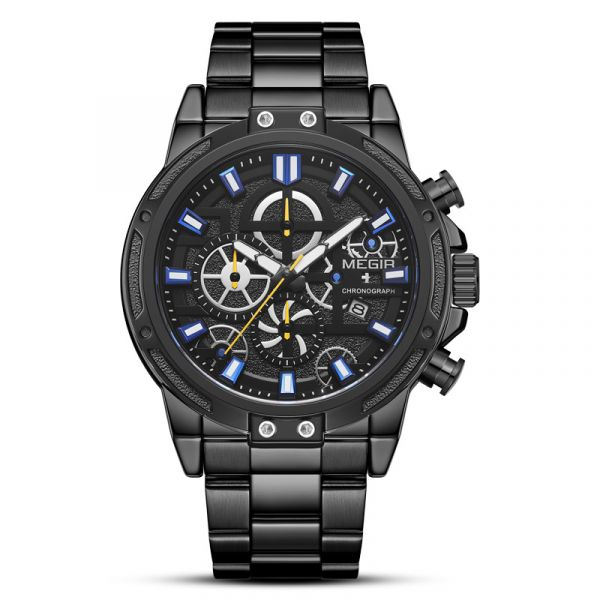 爭分奪秒 真三眼鋼帶腕錶 MG2108 腕錶,手錶,男錶,三眼錶,