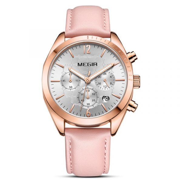 綻放閃耀 真三眼女錶 MG2115 腕錶,手錶,女錶,三眼錶,皮錶帶