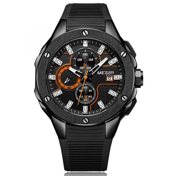 鬥志昂揚 鋼鐵真三眼腕錶 MG2053 手錶,男錶,三眼錶,賽車,競速