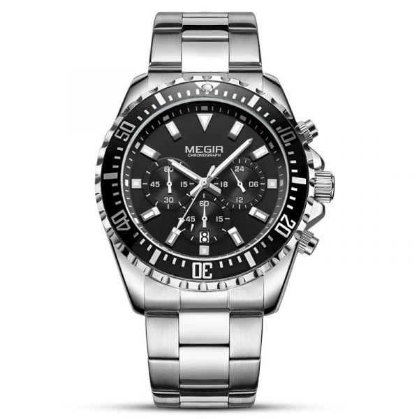 水鬼系列 真三眼鋼帶腕錶 MG2064 腕錶,手錶,男錶,三眼錶,黑水鬼,綠水鬼