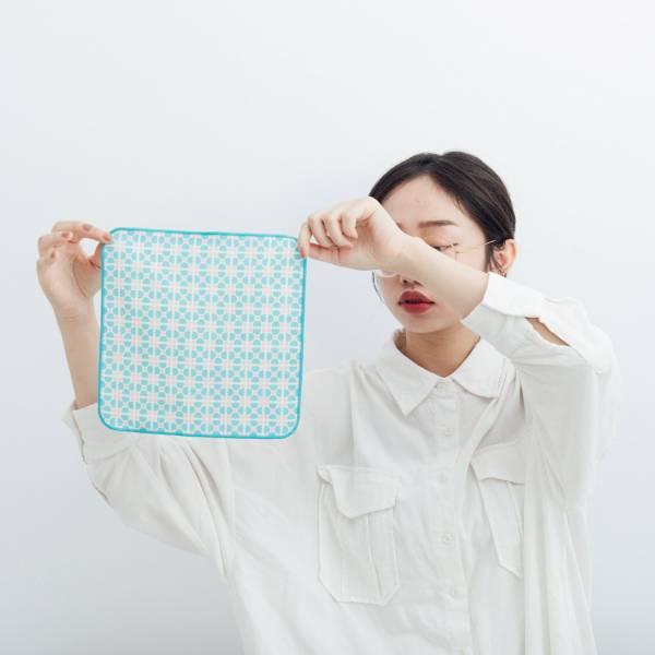 和風雙層小方巾/老磁磚4號/小溪藍色 毛巾, 手帕, 方巾