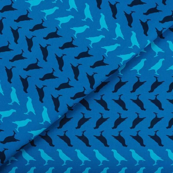 寬幅印花布8N/台灣八哥5號/湖心藍色 布料, 棉帆布, 手作材料