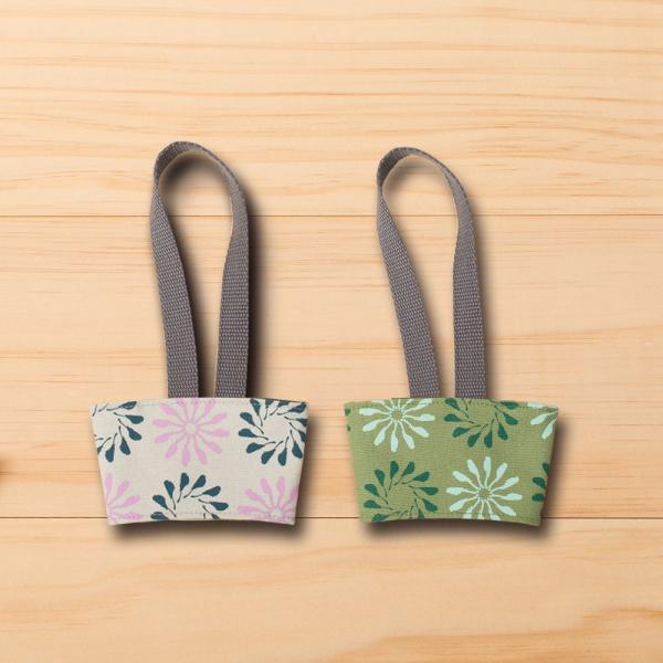 飲料杯提帶兩件組/烏秋圈圈/霧灰紫+苔蘚綠 飲料杯提袋, 環保提袋, 環保飲料袋