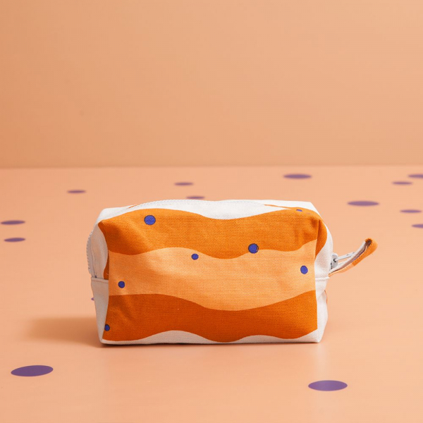 拉鏈長方收納包/珍珠奶茶/焦糖茶色 收納包, 化妝包, 盥洗包