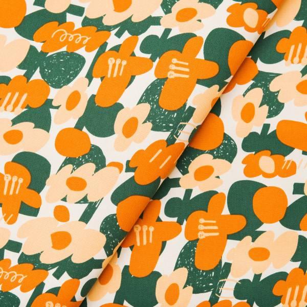 寬幅印花布8N/藝術家聯名/印花樂 x UULIN/荷包蛋花朵/橘色 布料, 棉帆布, 手作材料