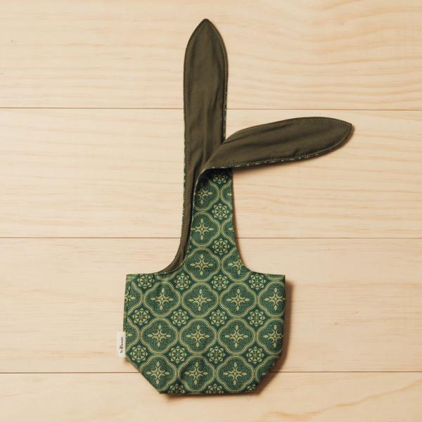 小胖兔耳袋/玻璃海棠/古董草綠 飲料提袋, 環保飲料提袋, 隨行杯提袋, 兔耳袋