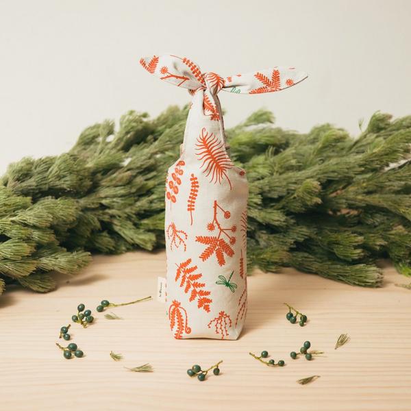 兔耳水壺袋/野花草與蜻蜓/磚橘紅色 飲料提袋, 環保飲料提袋, 隨行杯提袋, 兔耳袋